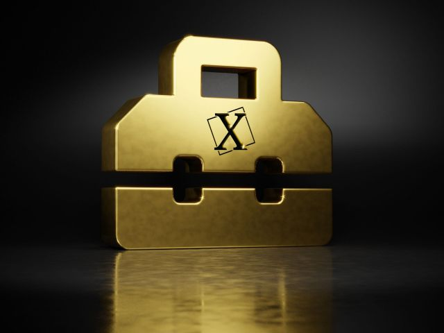 gold metal symbol of toolbox 3D rendering with blurry reflection